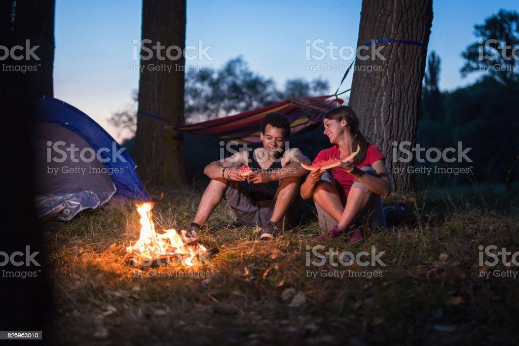 Summer camping stock photo