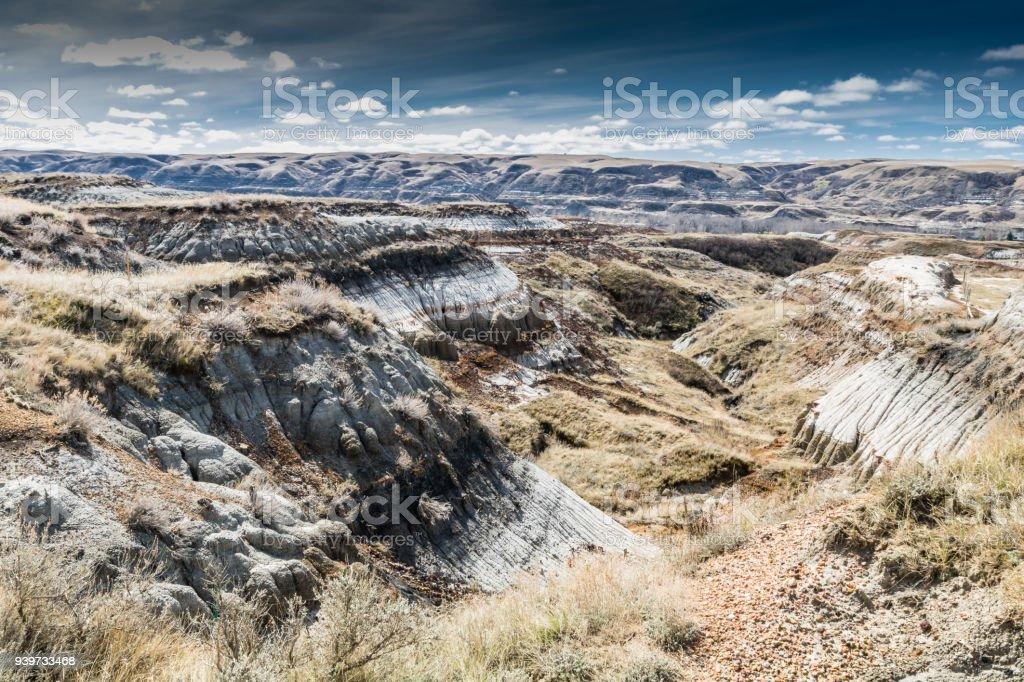 Summer, Canadian Badlands, Drumheller, Alberta, Canada stock photo