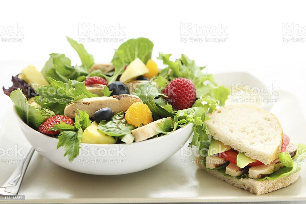 summer chicken salad stock photo