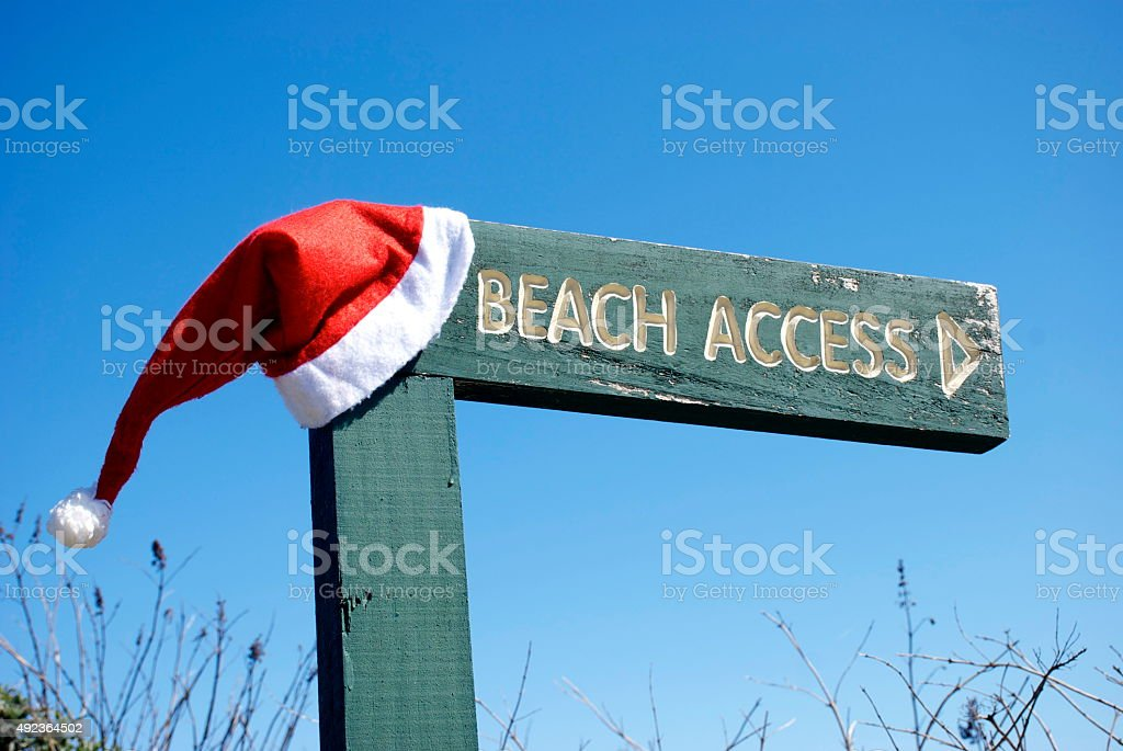 Summer Christmas Theme Beach Access Sign stock photo