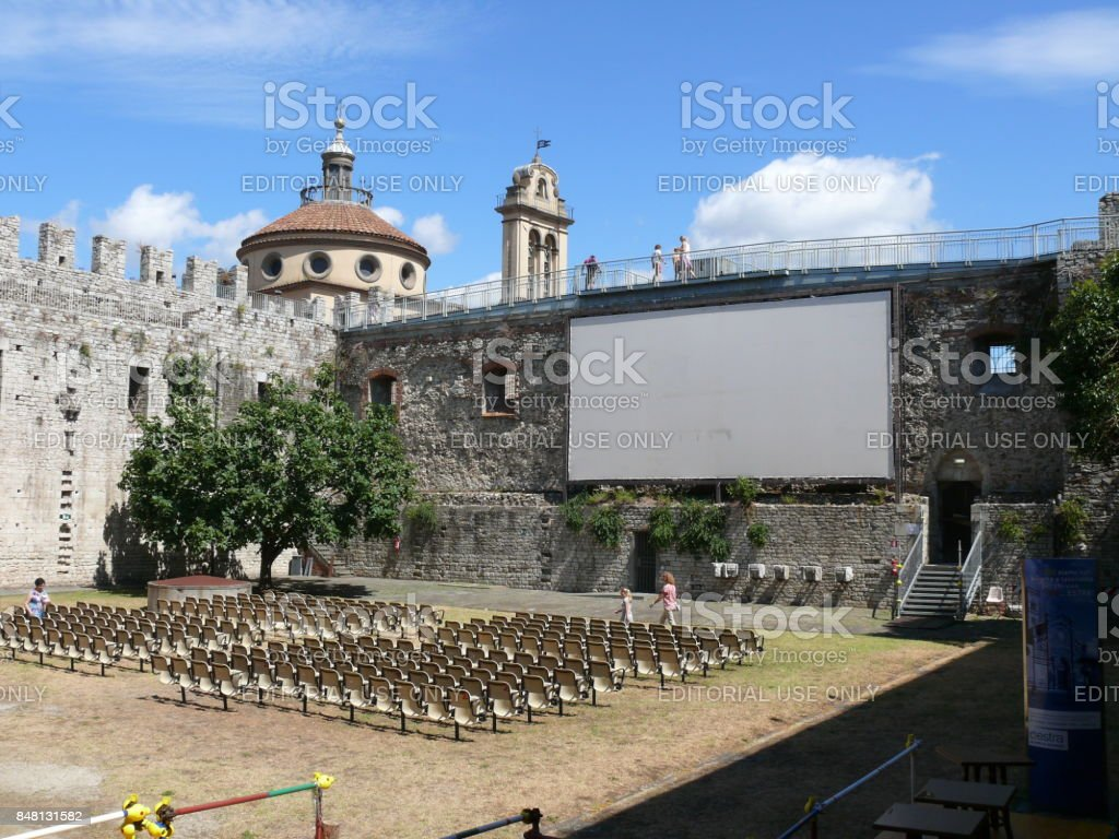 Summer cinema in Prato stock photo
