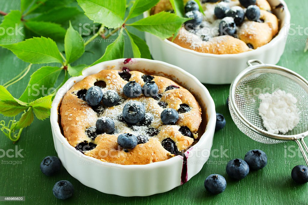 Summer Clafoutis pie with blueberries. stock photo