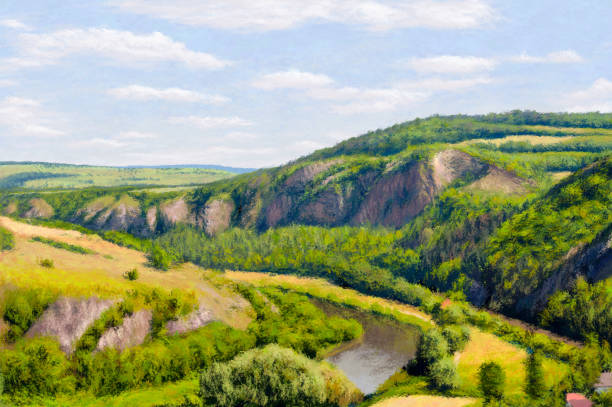 summer cliff impressionism painting - impressionist painting stock photos and pictures