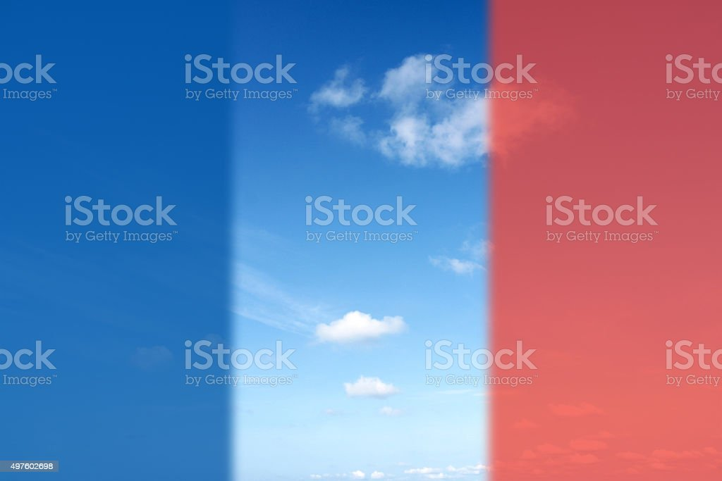 Summer Clouds with flag of france for 'Pray for Paris' stock photo