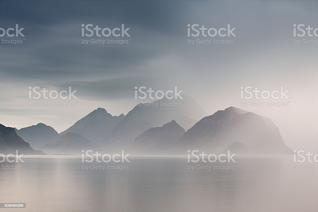 Summer cloudy Lofoten islands. Norway misty fjords. stock photo