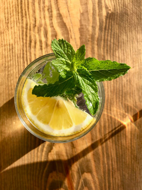Gin Tonic do cocktail do verão com as folhas de hortelã frescas na vista de madeira do mar da superfície no feriado no Hotel - foto de acervo