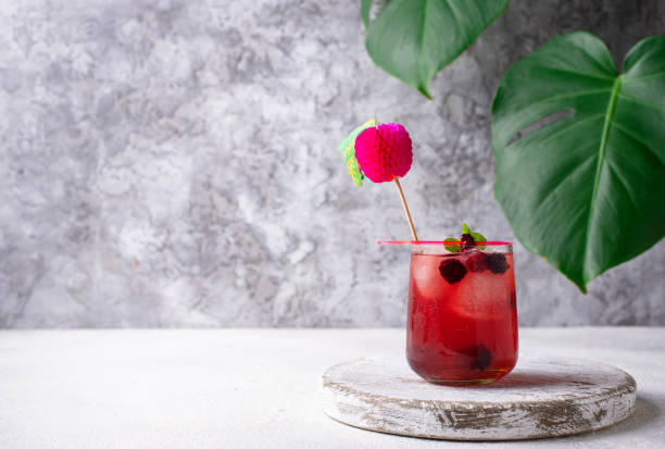 Summer cocktail with blackberry and ice – zdjęcie