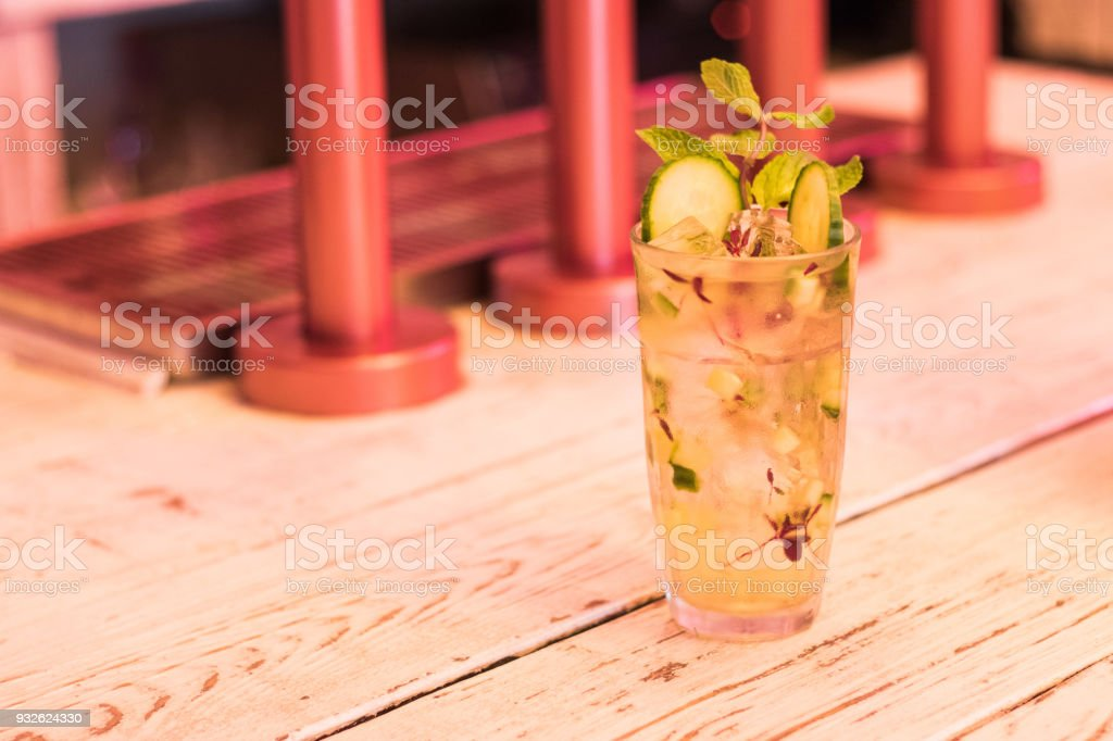 Summer cocktails garnish lemon mint stock photo
