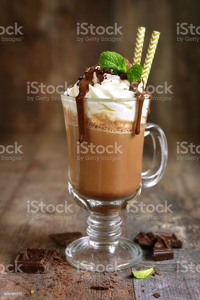 Summer cold drink chocolate frappuccino. stock photo