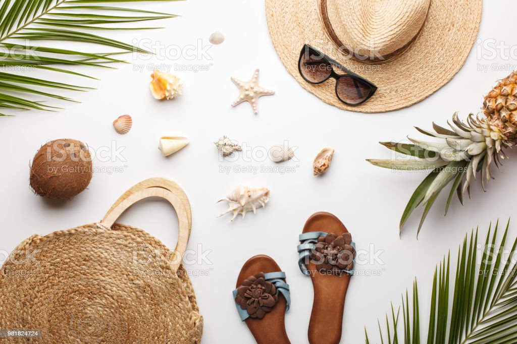 Summer composition. Fruits, hat, tropical palm leaves, seashells on white background. stock photo