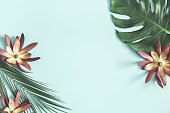istock Summer composition. Tropical flowers and leaves on pastel blue background. Summer concept. Flat lay, top view, copy space 1129301600