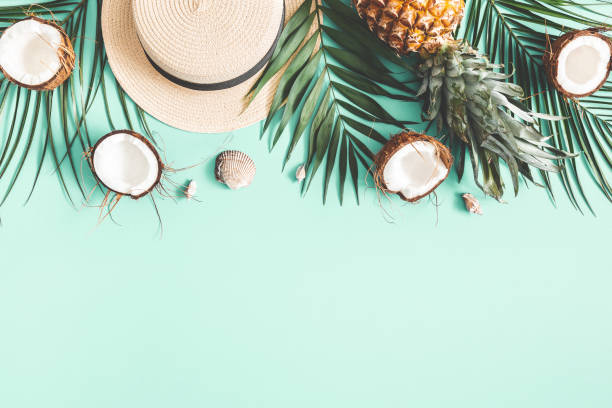 Summer composition. Tropical palm leaves, hat, coconut, pineapple on mint background. Summer concept. Flat lay, top view, copy space stock photo