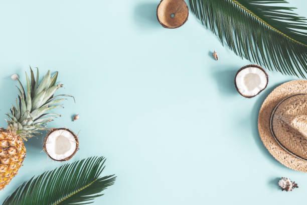 夏季作文。熱帶棕櫚葉, 帽子, 藍色背景上的水果。夏季理念。平面佈局、頂部視圖、複製空間 - 熱帶式樣 個照片及圖片檔