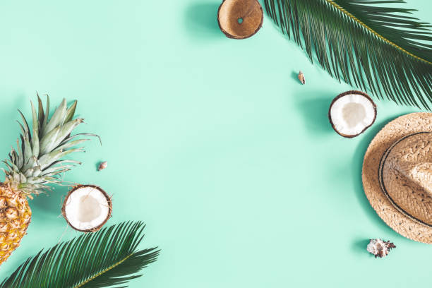 Summer composition. Tropical palm leaves, hat, fruits on mint background. Summer concept. Flat lay, top view, copy space stock photo