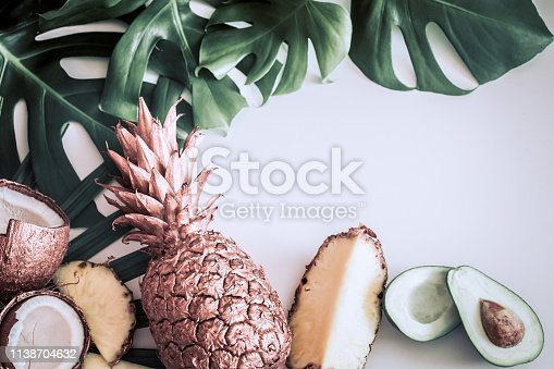 1153498948 istock photo summer composition with tropical leaves and fruits on white background 1138704632