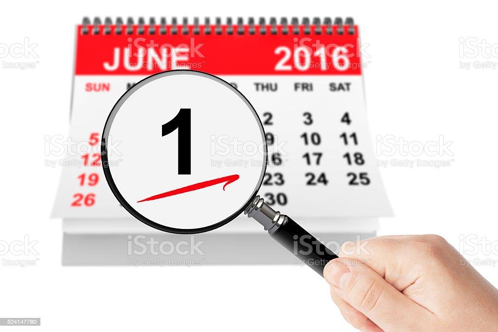 Summer Concept. 1 June 2016 calendar with magnifier stock photo