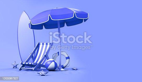 Beach Umbrella ,striped beach chair, beach ball, surfboard, lifebuoy and starfish. 3d illustration.