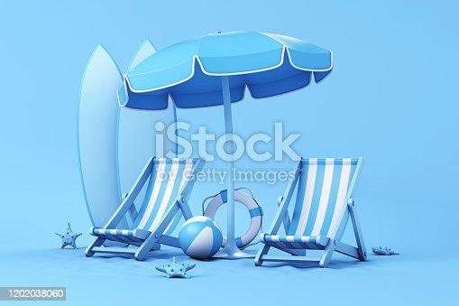 Beach Umbrella ,striped beach chairs, beach ball, surfboards, lifebuoy and starfish. 3d illustration.