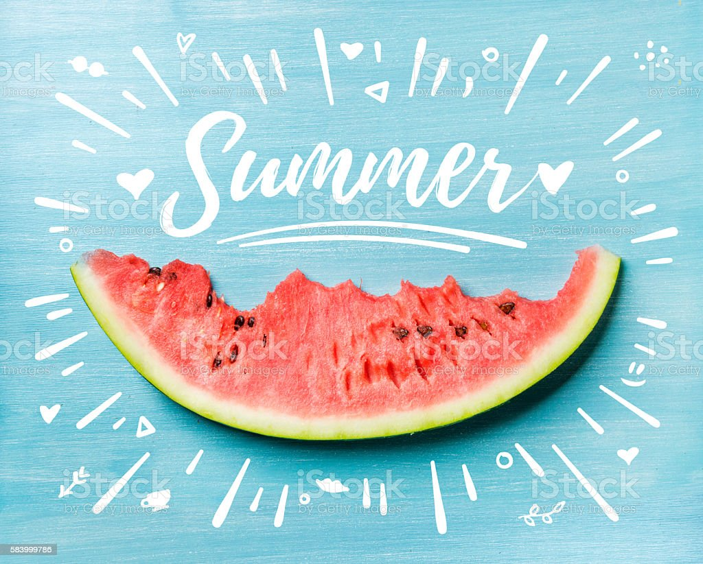 Summer concept illustration. Slice of watermelon on turquoise blue background stock photo