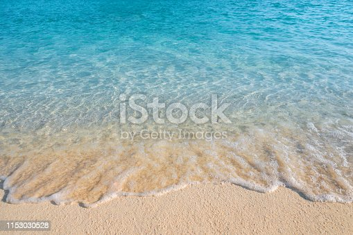 istock Summer concept ,Soft wave lapped the sandy beach background 1153030528
