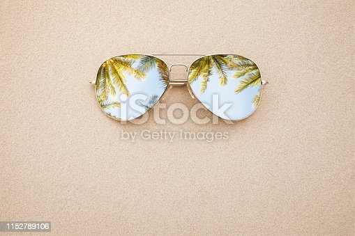 Summer concept, sunglasses in the sand, on the beach with copy space