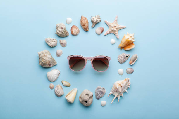 Summer concept with sunglasses, seashells and starfish on blue background. stock photo