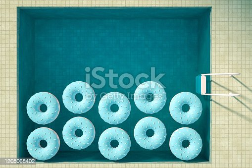 3d rendering of swimming pool and donuts. Summer Concept. Travel destinations. Aerial view. Inflatable Ring. Surreal.
