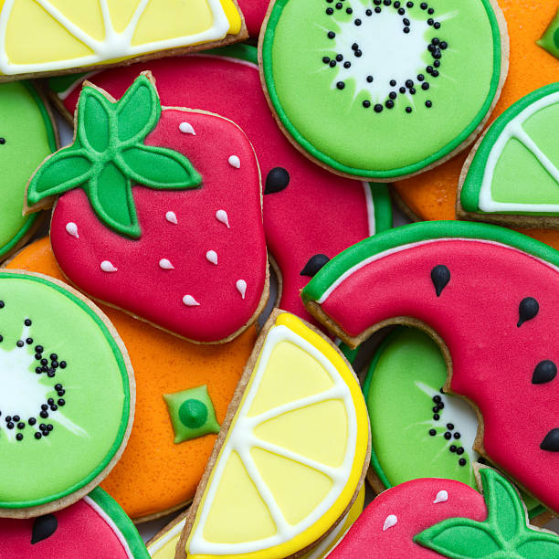 Summer cookies Colorful fruit cookies sugar cookie stock pictures, royalty-free photos & images