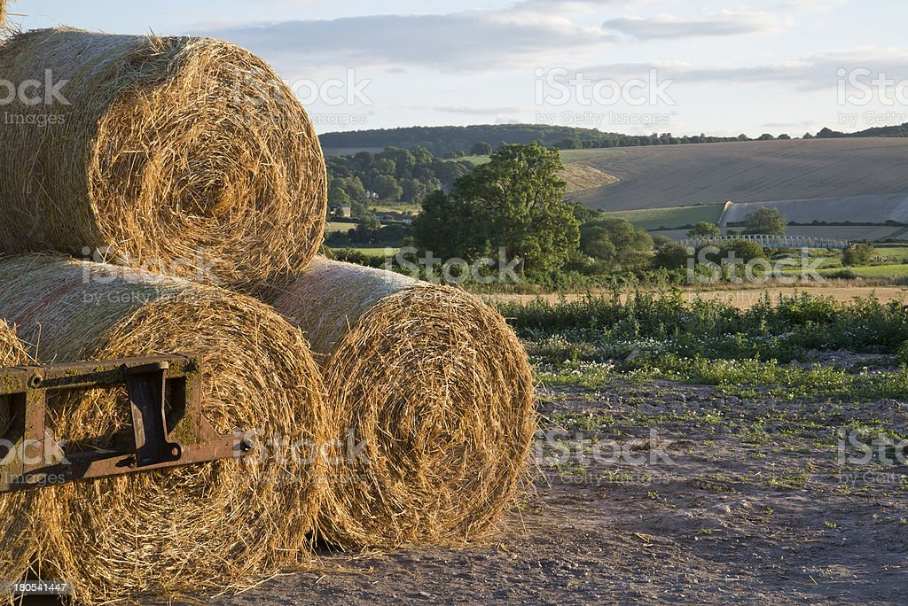 Summer countryside landscape stack of hay bales royalty-free stock photo