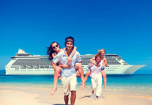 summer couple island beach cruise ship concept - cruise ship stock photos and pictures