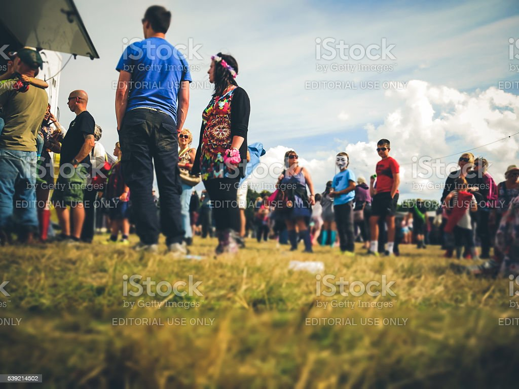 Summer Crowd of People, Fast Food, Public Park, UK stock photo