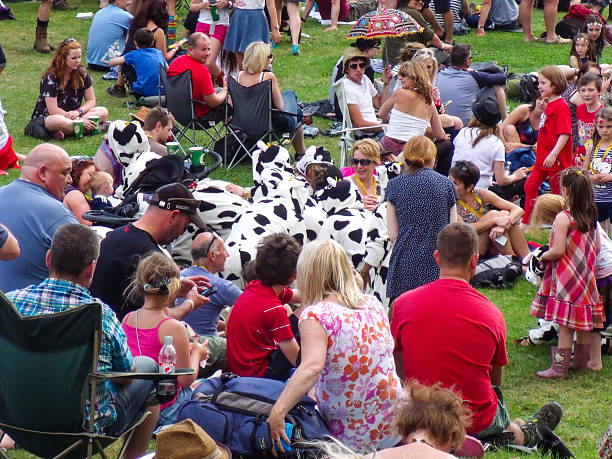 summer crowd of people, public park, uk - film festival stock photos and pictures