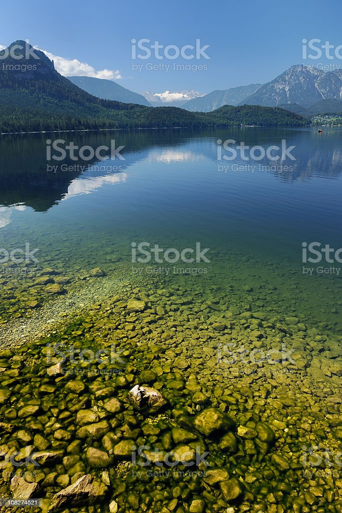 Summer Dachstein Panorama with the lake Altaussee infront (XXXL) royalty-free stock photo