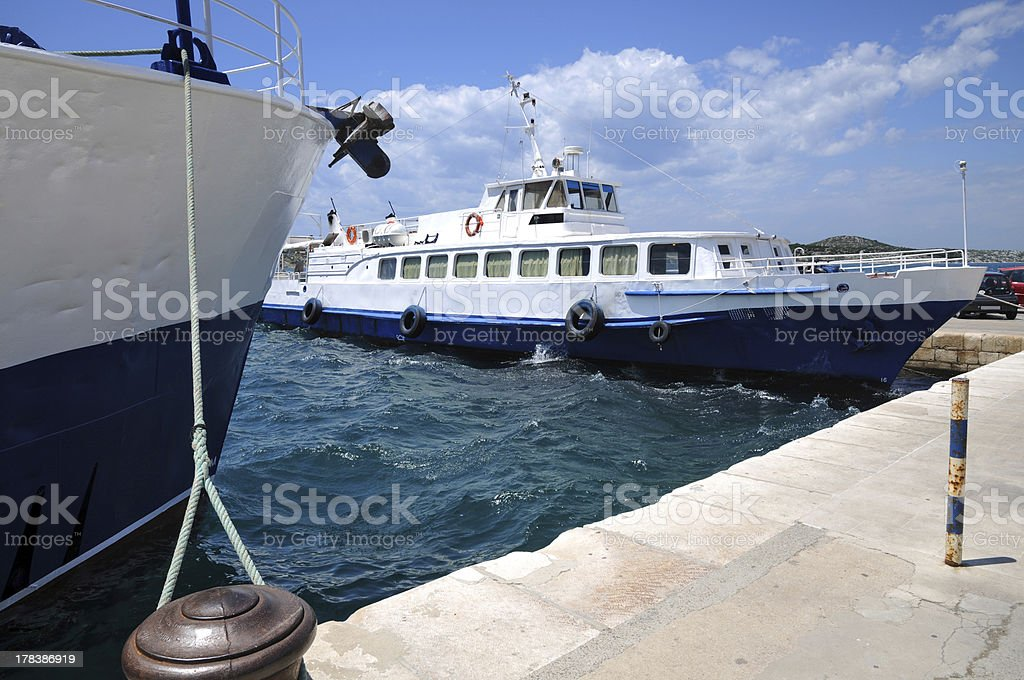 Summer day at pier. stock photo