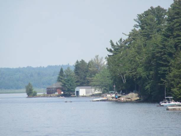 Summer day at scenic Tupper Lake stock photo