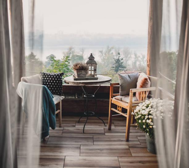 Summer day boho terrace stock photo