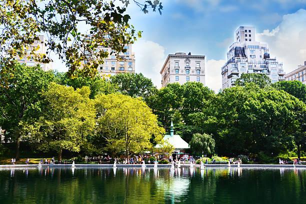 sommer tag im central park, new york - teichfiguren stock-fotos und bilder