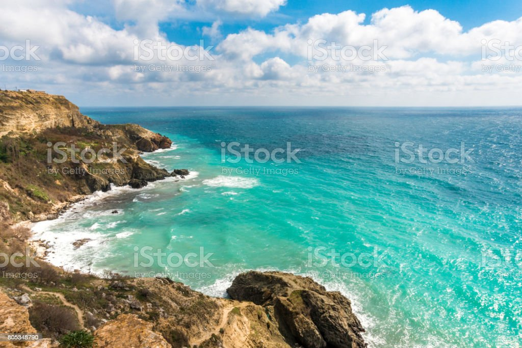 Summer day landscape with the sea and mountains. stock photo