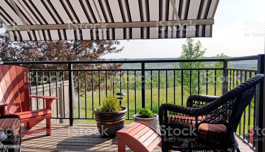 Summer Deck Comfort Under The Awning stock photo