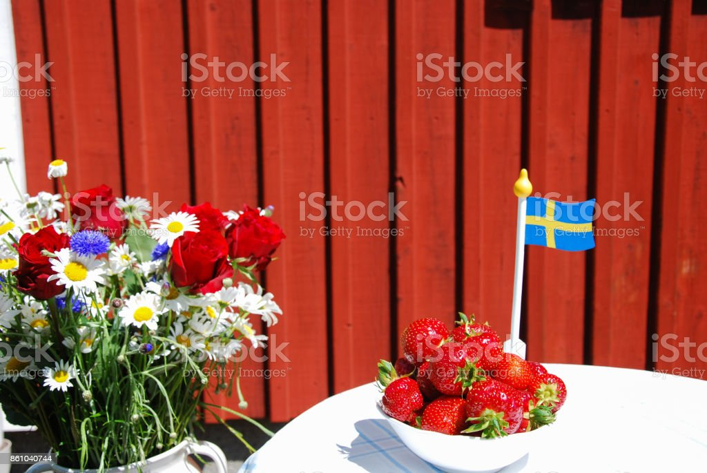 Summer decorated swedish table stock photo