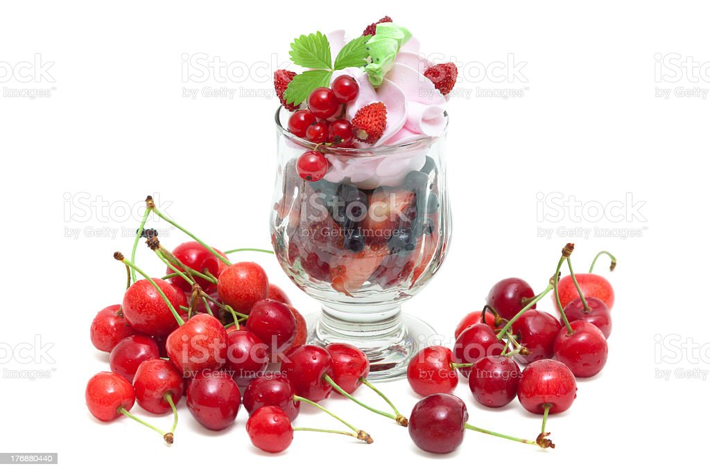summer dessert of fresh berries with cream royalty-free stock photo