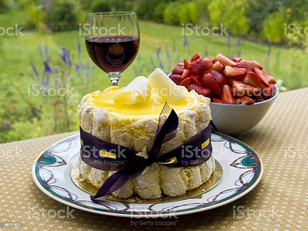 Summer dessert with wine royalty-free stock photo