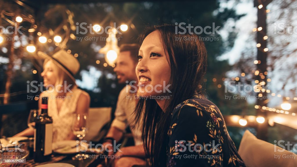 Summer dinner party stock photo