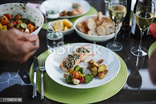 food, vegetable, fish, salmon seafood, salad