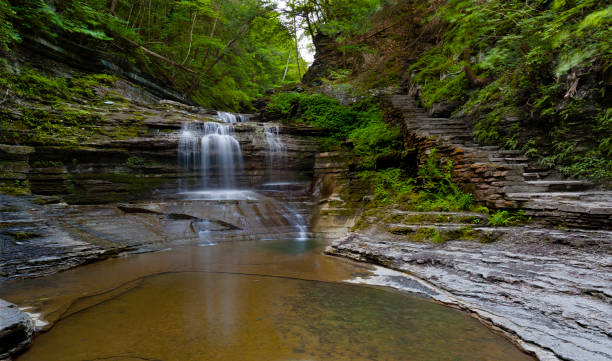 Summer Dream: Buttermilk Falls The first waterfall encountered after climbing from the valley floor.  Summer within the gorge of Buttermilk Falls Park. michael stephen wills waterfall stock pictures, royalty-free photos & images