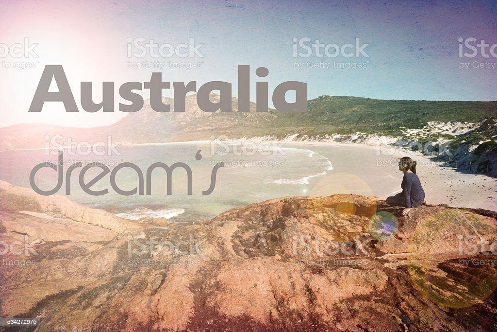 summer dreams woman beach vintage retro royalty-free stock photo