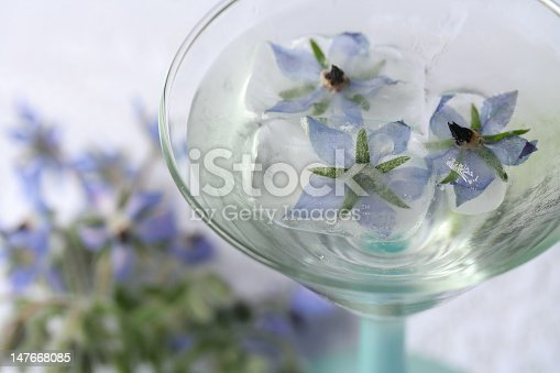 borage ice cubes float in a cocktail glass with blurred flowers in the background