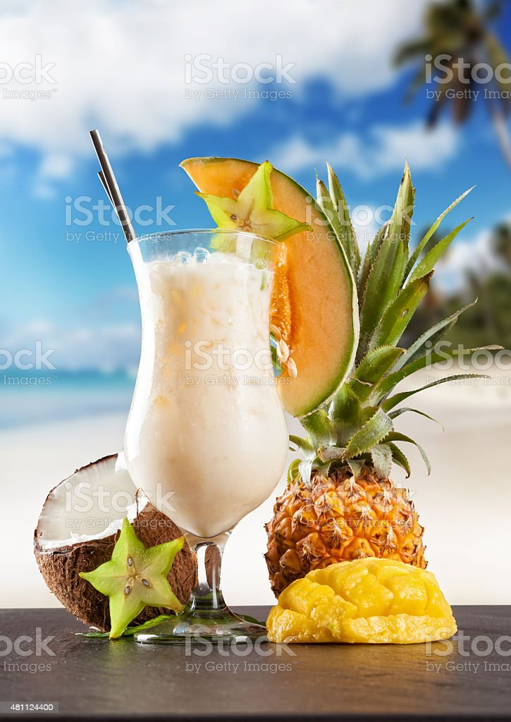 Summer drink with blur beach on background stock photo
