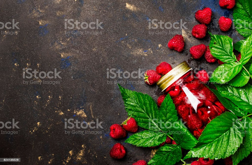 Summer drink with raspberries and ice