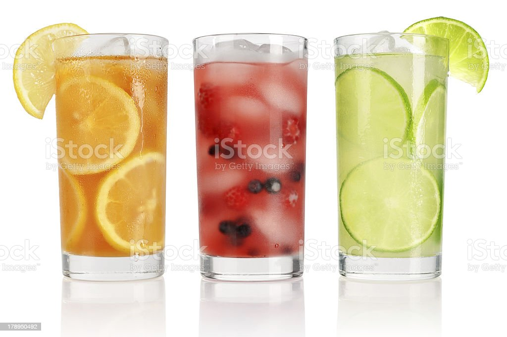 Summer drinks with ice stock photo